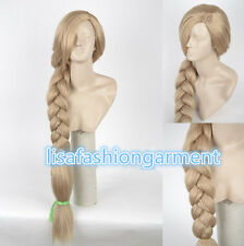 Women Disney Tangled Rapunzel Long Blonde Weaving Braid Cosplay Party Wigs