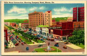 "Macon, Georgia Postcard ""3rd Street Intersection"" Dempsey Hotel Tichnor Linen"