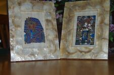 Egyptian Papyrus artifacts framed in Mica-like frames -