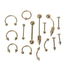 15pc Surgical Steel Body Piercing Jewelry Kit Set For Tongue Eyebrow Nipple Nose
