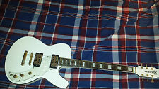 Used Musicvox Space Cadet 6 String Solid Body Guitar, White with Black Binding