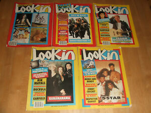 5 Look-In Magazines from 1988 No 26 & 1989 No 24,44,49 & 51 with Centre Posters
