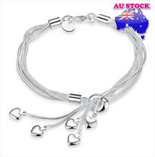 WholeSale 925 Sterling Silver Filled Lovely Hearts Pendant Charm Chain Bracelet