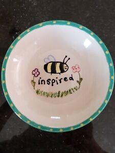 "Small Ceramic Bowl Trinket Dish ""Bee Inspired"" Flowers"