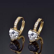 Fashionable Heart Shape Yellow Gold Filled Huggie Hoop Crystal Earrings Wedding