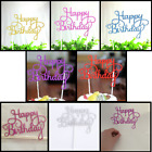 HAPPY BIRTHDAY CAKE PICK TOPPER DECORATION GOLD SILVER PINK GLITTER CALLIGRAPHY