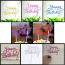 Happy Birthday Cake Pick Topper Decoration 6 Colours Glitter Calligraphy UK NEW