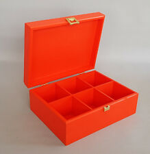 Red Wooden Box Tea Bag Chest 6 Compartment Removable Dividers Storage Twinings