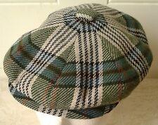Scottish Highland Newsboy Hat Vintage Western Isles Cap Tartan Plaid UK Size 56
