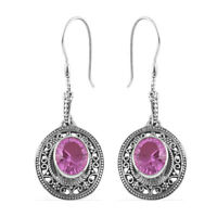 Platinum Over Sterling Silver Lilac Triplet Quartz Dangle Drop Earrings Ct 8.7