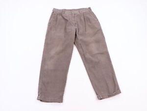 Vintage 90s Perry Ellis Streetwear Mens 34x30 Pleated Cuffed Corduroy Pants Gray