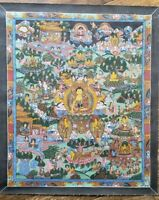 Antique Or Vintage Nepalese Buddhist Hand Painted Thangka Painting w gold buddha