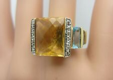 14K Yellow Gold Square Checkerboard Citrine Blue Topaz Diamond Ring