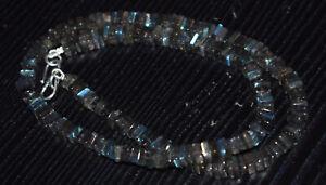 "Natural Blue Labradorite Gemstone 925 Fine Silver 12-40"" Strand Necklace HGT55"