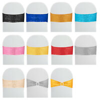 100PCS Spandex Stretch Chair Cover Sashes Band Shiny Elastic Decor Sequin Bands