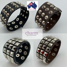 Rock Gothic punk genuine Leather Bracelet Bangle Stud Cuff Wristband Jewelry