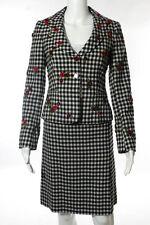 Moschino Cheap & Chic Black White Wool Checkered Blazer Skirt Suit Sz 38 40 NEW