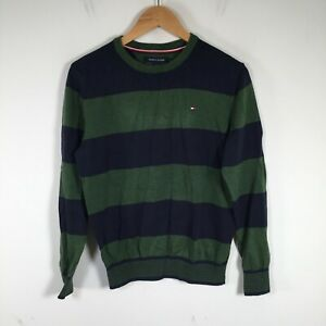 Tommy Hilfiger womens knit jumper size S green navy striped long sleeve 30.0006