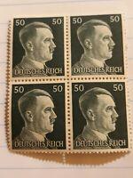 Ww2 German Adolf Hitler block of 4 Stamps Deutsches Reich Nazi 50rpf.  Unused