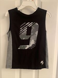 Toddler Boys Children's Place Sport Black/Gray Graphic Tank Top-Size 3T