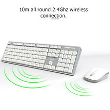 Wireless Keyboard and Mouse Set Silent Buttons 104 Keys for Desktop PC