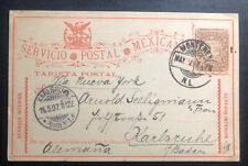 1897 Monterrey Mexico Stationery Postcard Cover To Karlsruhe Germany