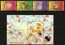 Hong Kong 2016 Year of the Monkey set of 4 plus m/s MNH
