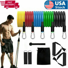 11Pc Resistance Band Set Yoga Pilates Abs Exercise Fitness Tube Workout Bands