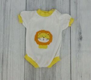 Baby Romper One Piece Short Sleeve Bodysuit Size 3-6 Months White Yellow Lion