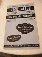 Partition Zone Bleue Chez mon ami l'Auvergnat Robert Monédière 1966