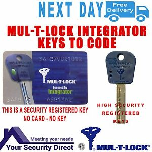 Mul-T-Lock Integrator Keys to code + Signed For 1st Class Delivery Included
