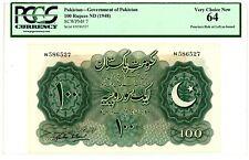 Pakistan ... P-7 ... 100 Rupees ... ND(1948) ... CH *UNC* ... PCGS 64