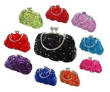 Satin Silk Rose Diamante Flower Wedding Evening Handbag Prom Clutch 14 Colours