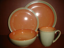 NEW 4 PIECE PLACE SETTING SET DENBY DUETS SAGE & PAPRIKA DINNERWARE STONE WARE