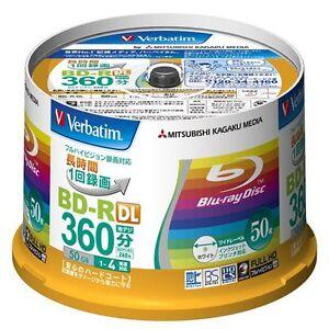 MITSUBISHI Verbatim Blank Blu ray Disc BD-R DL 50GB 50 Discs VBR260YP50V1 New