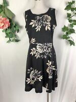 LAURA ASHLEY Black White Floral Sleeveless Linen Knee Length Dress - Size 10