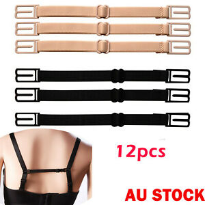 12x Lady Nonslip Elastic Adjustable Band Bra Strap Holder Strap Racer Back Clip