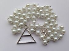 30 Seconds To Mars Triad Plata Cuentas Blancas Rosario Iglesia Jared Collar Echelon
