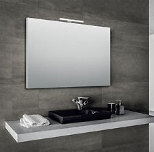 Specchio specchiera da bagno 100x70 cm con cornice e lampada led in alluminio