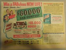 FAB Detergent Ad: Win A FABulous New Life $80,000 Contest !: FAB Ad from 1950's