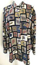 LeCaviar Long Sleeve Button Down Shirt Blouse Women Size XL Squares Leaves Print