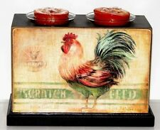 """FARMHOUSE ROOSTER "" Wooden Box Votive/Tealight Holder w Candles ~ New Sealed"