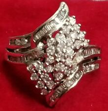 ⭐NEW STERLING SILVER 1-1+ CARAT PAVED GENUINE DIAMOND MARQUISE ENGAGEMENT RING