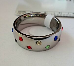 size 10 Stainless Steel with Multi colored crystals on 6 mm wide Band Ring