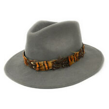 Womens Showerproof Wool Fedora Hat with Country Feather Wrap Trim - Mickleton