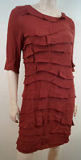Sandro Bourgogne Red Layered Round Neck 3/4 Manche Short Length Dress sz:2 UKM