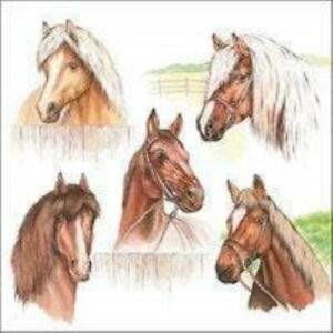 4 individual horse decoupage napkins, scrapbooking, mixed media, craft