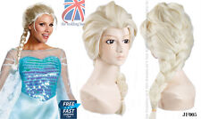 UK Adult  Princess Elsa Snow Queen Frozen Blonde Weaving Braid Cosplay Wig JF005