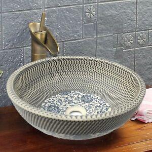 Vintage Bathroom Ceramic Counter Top Wash Basin Sink Kasbah Bowl Green Grey Blue