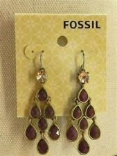 Fossil Earrings Plum Crystals Brass Ox Tone Drop NWT